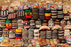 Street stall with hand-made souvenirs from Cartageny, Colombia