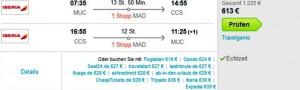 Iberia Billigflug von München nach Caracas