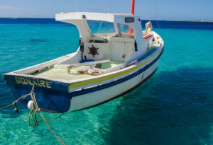 Boot im Meer von Bonaire
